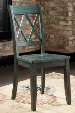 2 Teal Cross Chairs Great as head chairs w/upholst main image