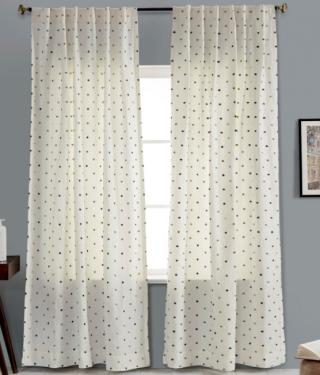 Blue Dots Linen Curtains main image