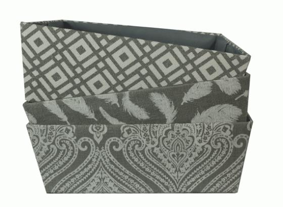 Various Patterned Gray Fabric Baskets main image