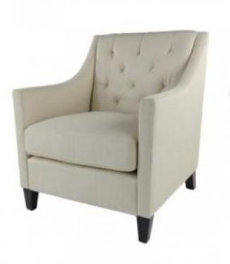 Contemporary Linen Cream Chair with Wood Legs main image