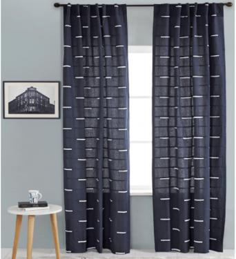 Navy Linen Curtains Set main image