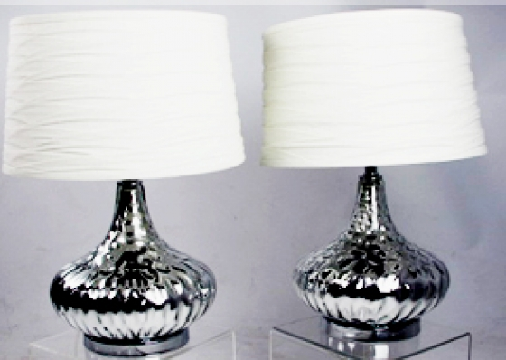 (2) SIlver Table Lamps main image