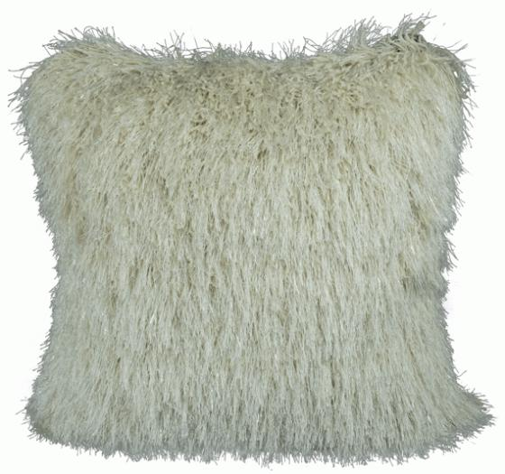 White Sparkly Shag Pillow main image