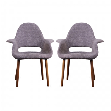 Beige Knitted Wooden Armchairs (2) main image