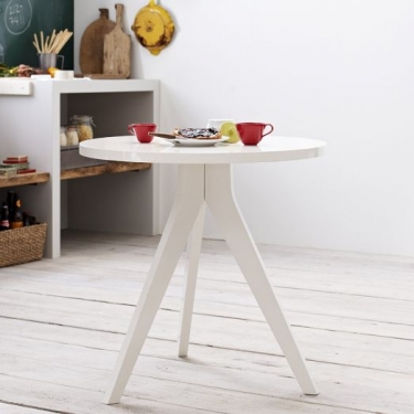 West Elm White Round Tripod Table main image