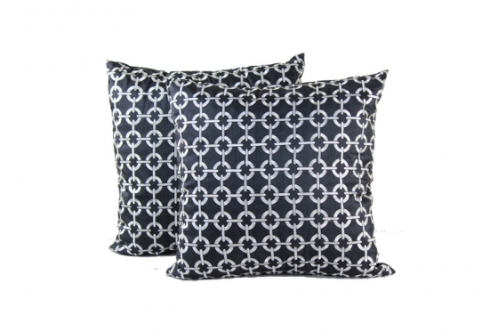 Black/ Silver Circle Pattern Pillows(2) main image