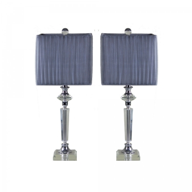 Crystal Lamps with Silver Fabric Shades(2) main image