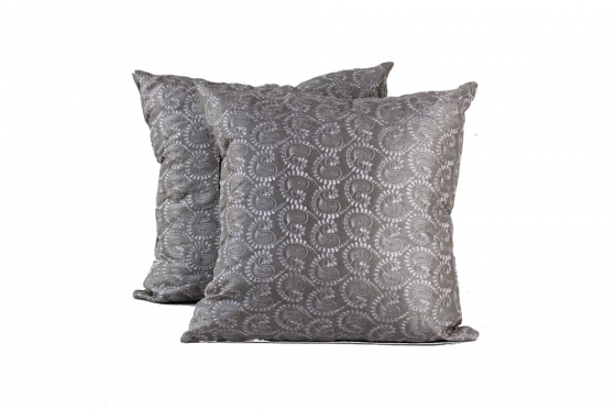 Taupe/Silver Pattern Pillows(2) main image