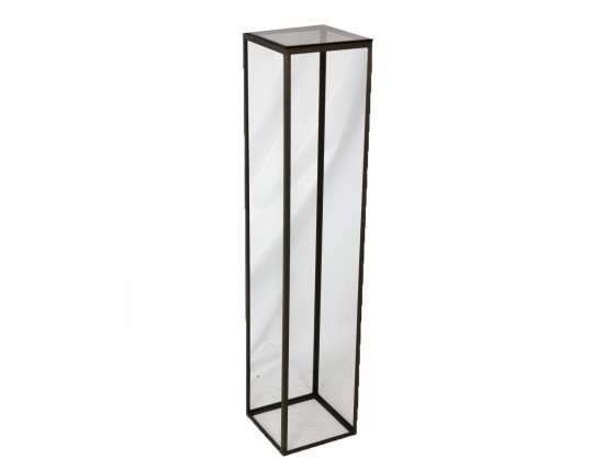 Tall & Narrow Metal Accent Table w/ Glass main image