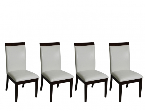 White Leather & Wood Chairs(4) main image