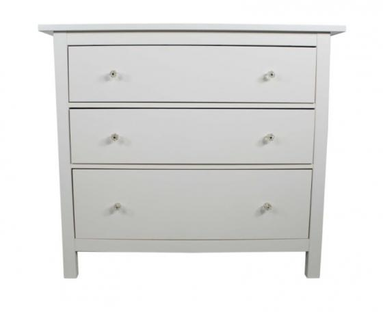 White High Gloss Dresser W/ Glass Knobs main image