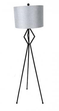 Black Tripod Floor Lamp W/ Silver Shade