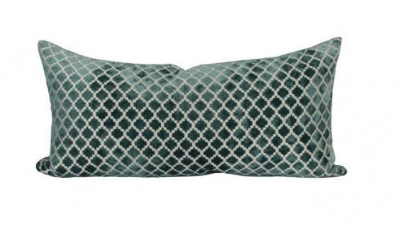 Green Velvet w/ Pattern Lumbar Pillow main image
