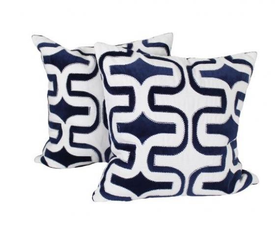 Blue & White Sewn Pattern Pillows main image