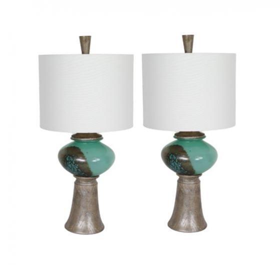 Green & Wood Trim Lamps  main image