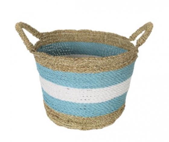 Blue & White Striped Basket main image
