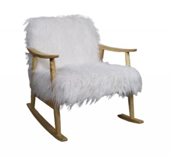 White Fuzzy Rocking Chair