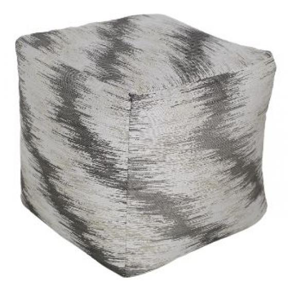 Grey & White Patterned Pouf main image